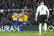 Southampton midfielder Nathan Redmond (22) shoots and scores and celebrates 1-0 during the The FA Cup 3rd round match between Derby County and Southampton at the Pride Park, Derby, England on 5 January 2019.