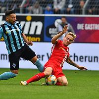 29.09.2019, Carl-Benz-Stadion, Mannheim, GER, 3. Liga, SV Waldhof Mannheim vs. FC Hansa Rostock, <br /> <br /> DFL REGULATIONS PROHIBIT ANY USE OF PHOTOGRAPHS AS IMAGE SEQUENCES AND/OR QUASI-VIDEO.<br /> <br /> im Bild: Arianit Ferati (SV Waldhof Mannheim #10) gegen Nils Butzen (FC Hansa Rostock #16)<br /> <br /> Foto © nordphoto / Fabisch
