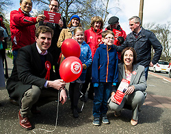 Pictured: Daniel Johnston, Rosa Hayes (8), Kezia Dugdale and Struan Robson (7)<br /> <br /> Scottish Labour leader Kezia Dugdale was joined by Edinburgh Southern candidate Daniel Johnson for campaigning and a walkabout in the Meadows. <br /> <br /> Ger Harley | EEm 17 April 2016