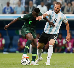 June 26, 2018 - Saint Petersburg, Russia - Oghenekaro Etebo (L) of Nigeria national team and Gonzalo Higuain of Argentina national team during the 2018 FIFA World Cup Russia group D match between Nigeria and Argentina on June 26, 2018 at Saint Petersburg Stadium in Saint Petersburg, Russia. (Credit Image: © Mike Kireev/NurPhoto via ZUMA Press)
