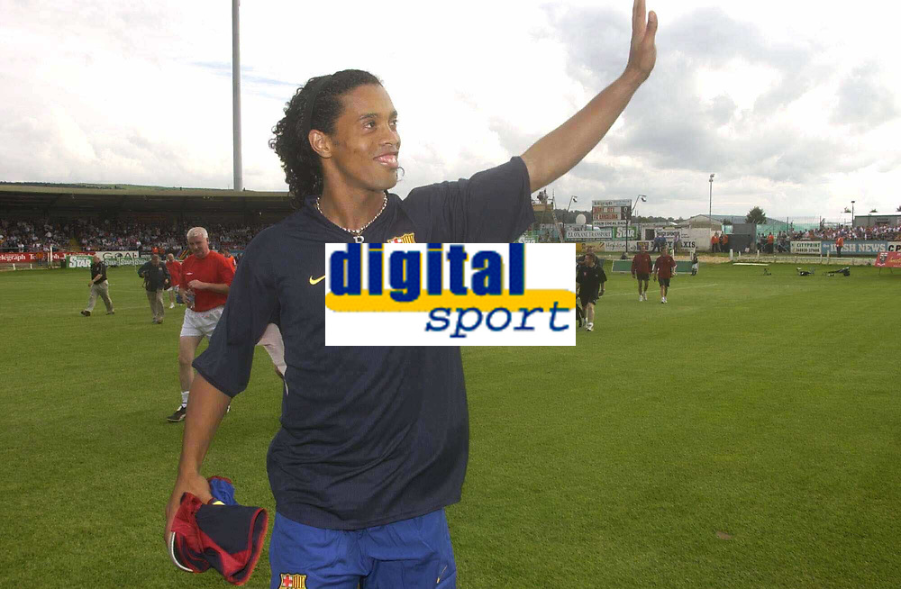 12 August 2003; Ronaldinho De Asis , Barcelona, waves to the crowd before the start of the game. Friendly game, Derry City v Barcelona, Brandywell, Derry. Picture credit; David Maher / SPORTSFILE *EDI*