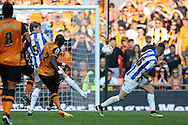 Mohamed Diame of Hull City shoots and scores his teams 1st goal to make it 1-0 . Skybet football league Championship play off final match, Hull city v Sheffield Wednesday at Wembley Stadium in London on Saturday 28th May 2016.<br /> pic by John Patrick Fletcher, Andrew Orchard sports photography.