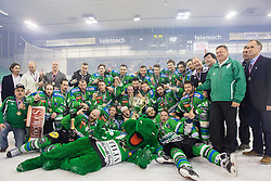 Players of Olimpija celebrate after became Slovenian National Champion 2016 after winning during ice hockey match between HDD Telemach Olimpija and HDD SIJ Acroni Jesenice in Final of Slovenian League 2015/16, on April 11, 2016 in Hala Tivoli, Ljubljana, Slovenia. Photo by Vid Ponikvar / Sportida