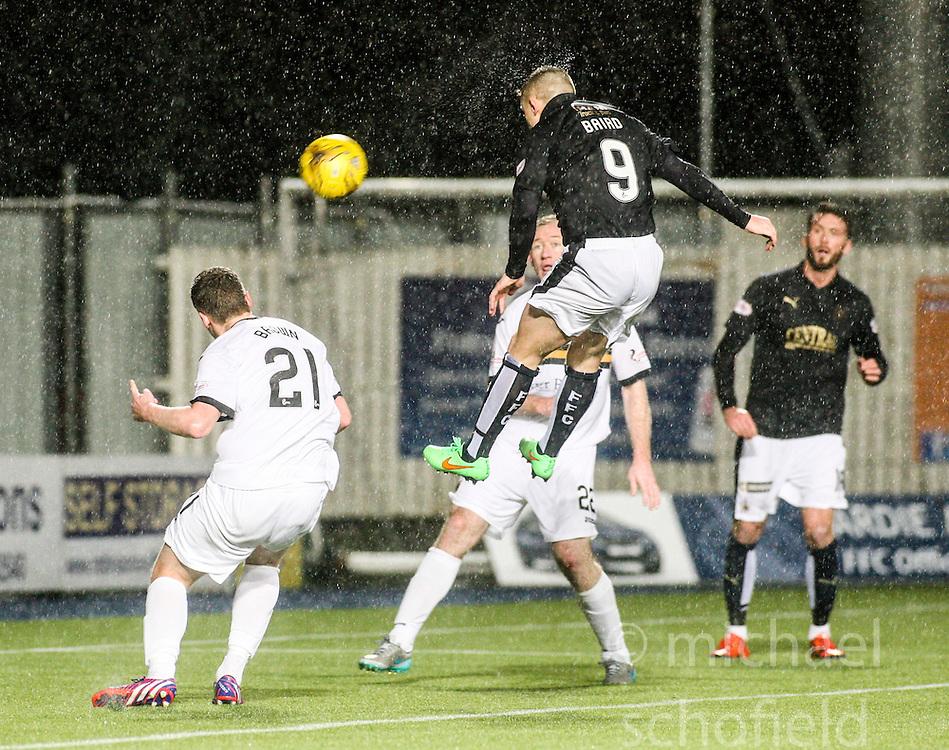Falkirk's John Baird heads. <br /> Falkirk 1 v 0 Dumbarton, Scottish Championship game played 26/12/2015 at The Falkirk Stadium.