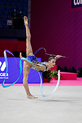 Berezina Polina from Sagna competes during the Rhythmic Gymnastics individual qualification of the World Cup at the Vitrifrigo Arena on May 28/29, 2021, in Pesaro, Italy.