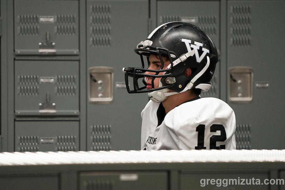Vale senior Zac Jacobs leaves the locker room for the second half of the 3A Championship game at Kennison Field, Hermiston, Oregon, Saturday, November 28, 2015. <br /> <br /> Jacobs finished with four touchdowns and 341 all purpose yards including 280 rushing yards and 55 receiving yards in Vale's 27-20 win over Santiam Christian. He was named the MODA Health player of the game.