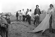Rock Festival fans leaving the area on the side of the stage after the Woodstock rock festival at Max Yasgur's 600 acre farm, in the rural town of Bethel, NY, on the weekend of August 16-18, 1969..
