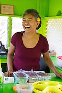 Jan Brockman works 3 days a week at Julia's Banana Nut Bread Stand, Kahakuloa, Maui, Hawaii