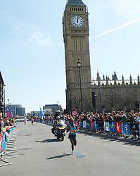 Tsegaye Kebede on his way to winning the Mens London Marathon passing Big Ben April 21, 2013. Photo by: Max Nash / i-Images