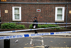 © Licensed to London News Pictures. 12/10/2020. London, UK. Crime scene in Homerton in Hackney, north London following triple shooting. Officers were called at 22:48hrs on Sunday, 11 October, to reports of a shooting on Homerton High Road in Hackney, and found three people with gunshot injuries. Two men, aged 60 and 32, were taken to hospital with non life-threatening/life-changing injuries. A third man, aged 24, was taken to hospital and remains in a life-threatening condition. Photo credit: Dinendra Haria/LNP