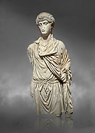 Roman statue of a Man. Marble. Perge. 2nd century AD. Inv no 2016/154. Antalya Archaeology Museum; Turkey.  Against a grey background .<br /> <br /> If you prefer to buy from our ALAMY STOCK LIBRARY page at https://www.alamy.com/portfolio/paul-williams-funkystock/greco-roman-sculptures.html . Type -    Antalya     - into LOWER SEARCH WITHIN GALLERY box - Refine search by adding a subject, place, background colour, museum etc.<br /> <br /> Visit our ROMAN WORLD PHOTO COLLECTIONS for more photos to download or buy as wall art prints https://funkystock.photoshelter.com/gallery-collection/The-Romans-Art-Artefacts-Antiquities-Historic-Sites-Pictures-Images/C0000r2uLJJo9_s0