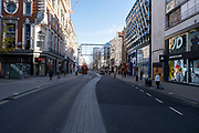 OxfordStreet shopping district empty of shoppers as Londoners await the imminent end of the second coronavirus national lockdown before the capital enters tier two in the new three tier system on 1st December 2020 in London, United Kingdom. Non essential shops will be allowed to reopen as of 2nd December while in other areas of the country, controversially, they will have to remain closed.