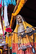 Statue of Santa Muerte at the La Casa De La Santa Muerte or House of the Saint of the Dead November 1, 2017 in Santa Ana Chapitiro, Michoacan, Mexico.