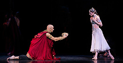 La Bayadere <br /> A ballet in three acts <br /> Choreography by Natalia Makarova <br /> After Marius Petipa <br /> The Royal Ballet <br /> At The Royal Opera House, Covent Garden, London, Great Britain <br /> General Rehearsal <br /> 30th October 2018 <br /> <br /> STRICT EMBARGO ON PICTURES UNTIL 2230HRS ON THURSDAY 1ST NOVEMBER 2018 <br /> <br /> Marianela Nunez as Nikiya <br /> A Bayadere and a temple dancer <br /> <br /> <br /> Gary Avis as The High Brahmin <br /> <br /> <br /> <br /> Photograph by Elliott Franks Royal Ballet's Live Cinema Season - La Bayadere is being screened in cinemas around the world on Tuesday 13th November 2018 <br /> --------------------------------------------------------------------
