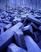 Jumbled pile of columnar basalt at the base of Devils Postpile, Devils Postpile National Monument, California.