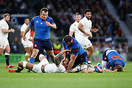 eng (floor) and Yoann Maestri of France (blue) scrap after a late tackle by Lawes  of Jules Pisson of France (R) during the RBS 6 Nations match at Twickenham Stadium, Twickenham<br /> Picture by Andrew Tobin/Focus Images Ltd +44 7710 761829<br /> 21/03/2015