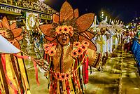 Carnaval parade of Unidos do Porto da Pedra samba school in the Sambadrome, Rio de Janeiro, Brazil.