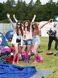 Erin Ferguson, Rachel MacKay and Emily McFadden. The opening of the T in the Park 2015 campsite for the very first year at its new home at Strathallan Castle.