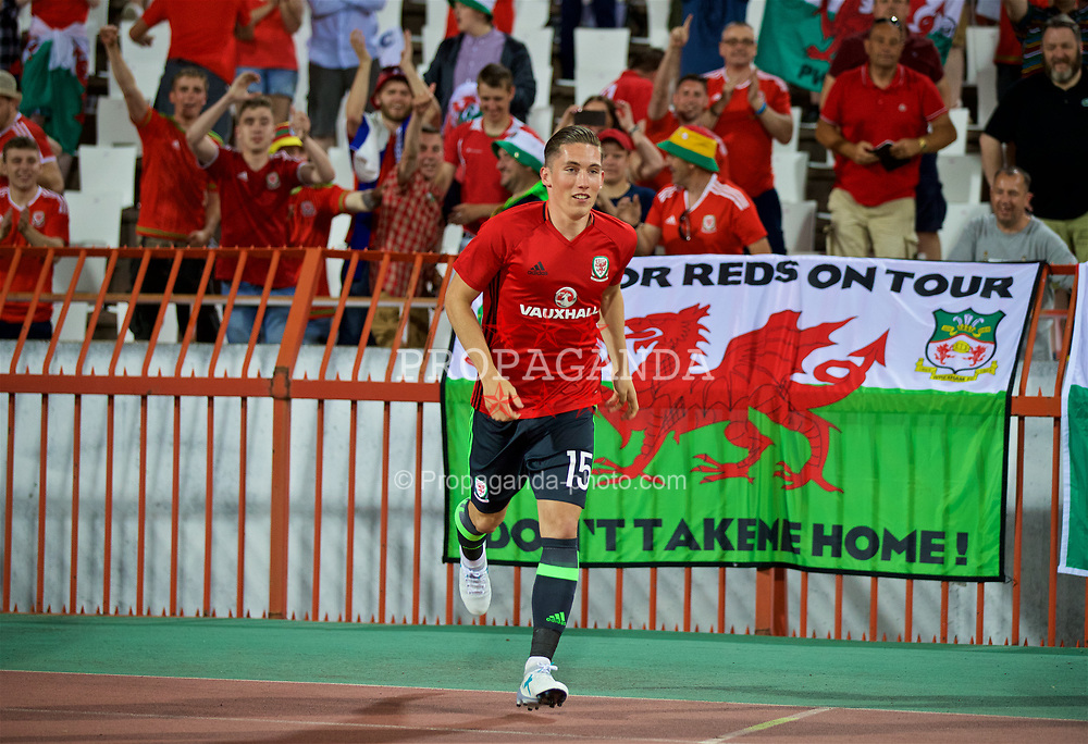 BELGRADE, SERBIA - Sunday, June 11, 2017: Wales' Harry Wilson after taking a selfie with friends and family after the 2018 FIFA World Cup Qualifying Group D match between Wales and Serbia at the Red Star Stadium. (Pic by David Rawcliffe/Propaganda)