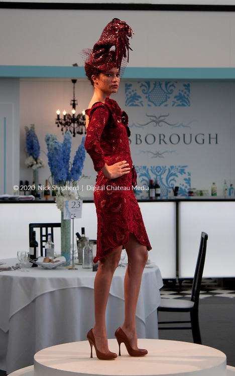 Royal ascot 2011 in the Bessborough. Model wearing Vivienne Westwood poses for the camera during the fashion show in the restaurant.<br /> <br /> EDITORIAL USE ONLY