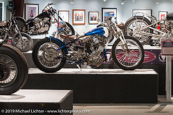 "Nate Jacobs ""Speedway Kay"" Shovelhead in the ""Built for Speed"" exhibition curated by Michael Lichter and Paul D'Orleans in the Russ Brown Events Center as part of the annual ""Motorcycles as Art"" series at the Sturgis Buffalo Chip during the Black Hills Motorcycle Rally. SD, USA. August 7, 2014.  Photography ©2014 Michael Lichter."