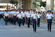Air force personnel marching in 2014 ANZAC day parade, Brisbane <br />
