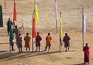 Men in an archery competition, Thimphu, Bhutan.  Archery is Bhutan's national sport.