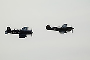 F4U-7 Corsair and P-40E Warhawk of Erickson Aircraft Collection flying formation at Airshow of the Cascades.