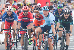 September 24, 2017 - Zhuhai, Guangdong, China - Maris Bogdanovics (Center) from Rietumu Banka Riga wins the fifth and final stage of the 2017 Tour of China 2, the 91.2km Zhuhai Hengqin Circuit Race. .On Sunday, 24 September 2017, in Hengqin district, Zhuhai City, Guangdong Province, China. (Credit Image: © Artur Widak/NurPhoto via ZUMA Press)