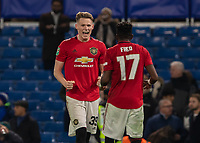Football - 2019 / 2020 EFL Carabao (League) Cup - Fourth Round: Chelsea vs. Manchester United<br /> <br /> Scott McTominay (Manchester United) celebrates with Fred (Manchester United) at the final whistle at Stamford Bridge <br /> <br /> COLORSPORT/DANIEL BEARHAM
