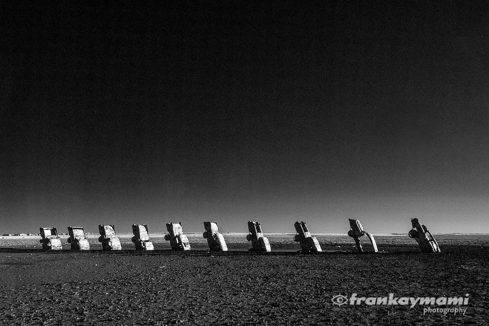 Infrared images of Cadillac Ranch along Route 66 in Amarillo, TX