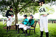 April 29, 2017, 22nd annual Queen's Cup Steeplechase. Jockeys Sean McDermott, Jack Doyle, Bernie Dalton and Rebecca LaBarre chat before a race.