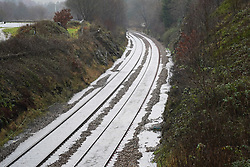 © Licensed to London News Pictures. 20/01/2020. Walsden, UK. The railway lines at Walsden station in West Yorkshire have flooded as storm Christoph batters the UK with heavy rain. Photo credit: Ioannis Alexopoulos/LNP