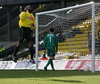 Photo:  Frances Leader.<br /> Watford v Coventry City. Coca Cola Championship. <br /> Vicarage Road Stadium<br /> 05/03/2005<br /> Watford's captain Bruce Dyer celebrates his equalising goal against Coventry.