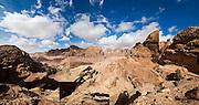 View over the rock canyons of Petra, Jordan.