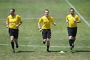 Match referees warm up before the Handa Premiership football match, Hawke's Bay v Wellington, Bluewater Stadium, Napier, Sunday, February 03, 2019. Copyright photo: Kerry Marshall / www.photosport.nz