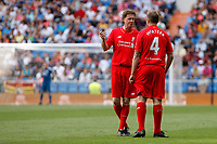 Liverpool´s McManaman and McAteer during 2015 Corazon Classic Match between Real Madrid Leyendas and Liverpool Legends at Santiago Bernabeu stadium in Madrid, Spain. June 14, 2015. (ALTERPHOTOS/Victor Blanco)