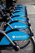 London Cycle Hire bicycles at a docking station at Liverpool Street, Devonshire Square. The scheme, sponsored by Barclays is intended to get Londoners cycling. As part of a major initiative. These free (for the first half hour) bikes are then charged for how long you use them. Take a cycle, ride it where you like, then return it, ready for the next person. Available 24 hours a day, all year round. It's self-service and there's no booking. Just turn up and go.