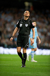 MANCHESTER, ENGLAND - Monday, April 30, 2012: Referee Mark Clattenburg takes charge of Manchester City versus Manchester United during the Premiership match at the City of Manchester Stadium. (Pic by David Rawcliffe/Propaganda)
