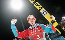 06.01.2016, Paul Ausserleitner Schanze, Bischofshofen, AUT, FIS Weltcup Ski Sprung, Vierschanzentournee, Bischofshofen, Gesamtsiegerehrung, im Bild Michael Hayboeck (AUT, Gesamtwertung, 2. Platz) // 2nd placed Michael Hayboeck of Austria celebrate after the podium of the Four Hills Tournament of FIS Ski Jumping World Cup at the Paul Ausserleitner Schanze in Bischofshofen, Austria on 2016/01/06. EXPA Pictures © 2016, PhotoCredit: EXPA/ JFK