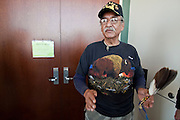 """04 FEBRUARY 2010 - CAMP VERDE, AZ: J.R. Packhorse, representing the Intertribal Eagle Feather Council and  Lakota Nation talks about Native American interests in the James Arthur Ray case. Packhorse said he was there to observe the proceeding to make sure Native interests and common law interests coincided. He said Ray had violated Native traditions by using a sacred ceremony to make money. He said that in traditional culture you presented a small gift to leader of the ceremony but didn't pay him. And that the sweat lodge ceremony is a life giving ceremony but that Ray had, allegedly, taken lives during the ceremony. James Arthur Ray had his initial appearance in Yavapai County Court in Camp Verde Thursday morning. His bail was set at $5 Million Dollars (US). Ray did not post bail and remains in jail. Ray was arrested in Prescott, AZ, on Feb 3 and charged with three counts of manslaughter after three people died during a sweat lodge ceremony he was holding in Sedona, AZ, in October 2009. The ceremony was a part of a """"Spiritual Warrior"""" workshop Ray was leading. He charged participants $8,000 each. PHOTO BY JACK KURTZ    NO SALES"""