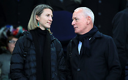 British television presenter Jim White (right) during the Premier League match at Goodison Park, Liverpool.