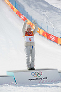 Celebrations following, Redmond Gerard, USA, winning the mens Snowboard Slopestyle Finals at the Pyeongchang Winter Olympics on the 11th February 2018 in Phoenix Snow Park in South Korea