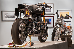 Roland Sands' RSD Race Chief custom Indian Chief Dark Horseracer in the More Mettle - Motorcycles and Art That Never Quit exhibition in the Buffalo Chip Events Center Gallery during the Sturgis Motorcycle Rally. SD, USA. Monday, August 9, 2021. Photography ©2021 Michael Lichter.