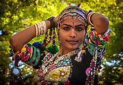 Indian dancer from Jodhpur, Rajasthan, in traditional dress for Diwali, festival of lights and Hindu New Year, Christchurch
