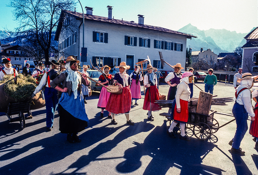 People in costume in a Fasching (Winter carnival) parade in Garmisch-Partenkirchen, Bavaria, Germany.