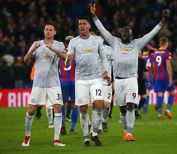March 5, 2018 - London, United Kingdom - L-R Manchester United's Nemanjo Matic, Manchester United's Chris Smalling and Manchester United's Romelu Lukaku celebrates the winning goal.during the Premiership League  match between Crystal Palace and Manchester United at Selhurst Park Stadium in London, England on 05 March 2018. (Credit Image: © Kieran Galvin/NurPhoto via ZUMA Press)