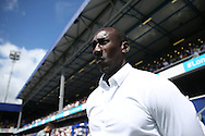 Jimmy Floyd Hasselbaink, the QPR manager looks on from touchline .Skybet EFL championship match, Queens Park Rangers v Leeds United at Loftus Road Stadium in London on Sunday 7th August 2016.<br /> pic by John Patrick Fletcher, Andrew Orchard sports photography.