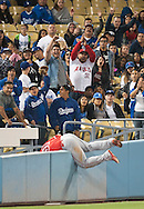 Angel fans celebrate after Ji-Man Choi made a nice running catch during the Angels' Freeway Series game against the Dodgers Thursday night at Dodger Stadium.<br /> <br /> ///ADDITIONAL INFO:   <br /> <br /> freeway.0401.kjs  ---  Photo by KEVIN SULLIVAN / Orange County Register  --  3/31/16<br /> <br /> The Los Angeles Angels take on the Los Angeles Dodgers at Dodger Stadium during the Freeway Series Thursday.<br /> <br /> <br />  3/31/16