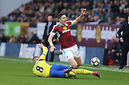 Stephen Ward of Burnley is tackled by Ross Barkley of Everton. Premier League match, Burnley v Everton at Turf Moor in Burnley , Lancs on Saturday 22nd October 2016.<br /> pic by Chris Stading, Andrew Orchard sports photography.